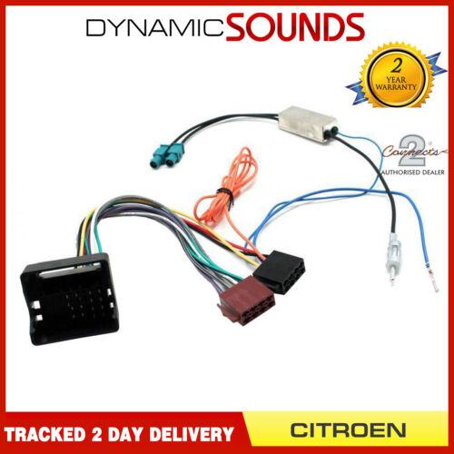CT20CT06 coche arnés de ISO radiowiring Cable Adaptador Doble FAKRA Antena para CITROEN