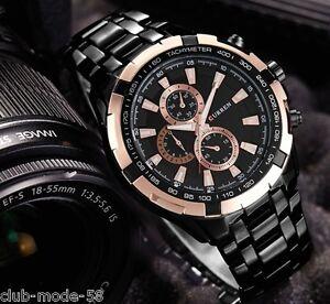 Montre-Sport-Luxe-Curren-Neuve-Homme-Bracelet-Metal-Noir-Fashion-watch-PROMO