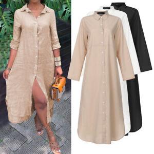 Bouffant-Femme-Jupe-Chemise-Decontractee-Simple-Manche-Longue-Fendu-Boutons-Robe