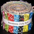 Bandanna Rainbow Multi Color Jelly Roll 17 Cotton Fabric Strips 2.5