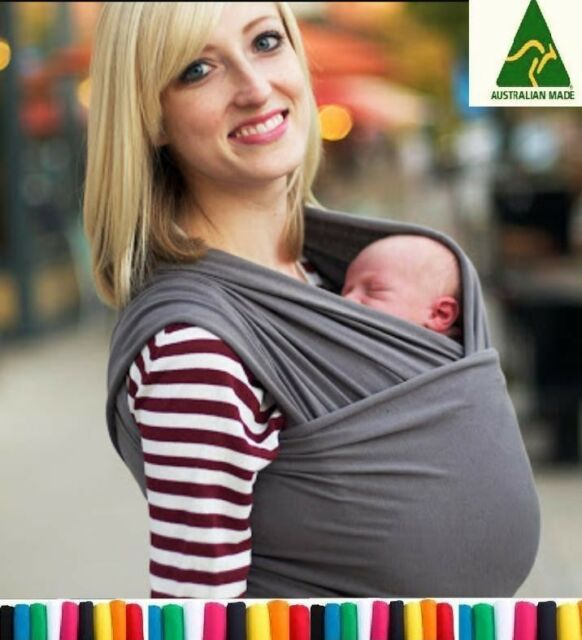 Liberty sling Baby cotton stretchy wrap carrier in CHARCOAL, XMAS GIFT WRAPPED