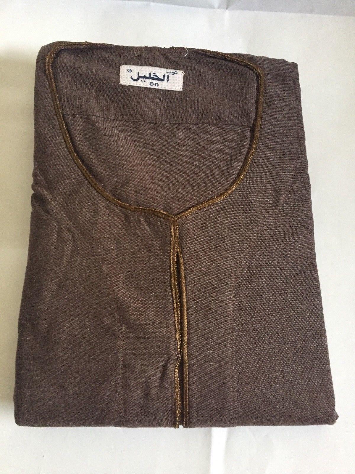 Égyptien 100% Cotton Décontracté Hommes Galabia Pyjama Marron Pyjama Galabia XL b3a80e