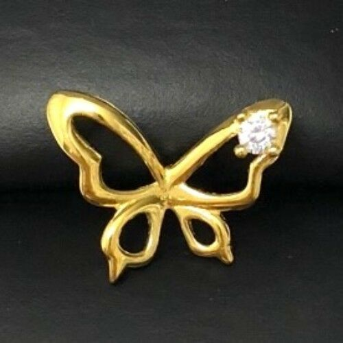 .25 Ct Round White Diamond Butterfly SOLID 14k Yellow Gold Pendant Jewelry Gift