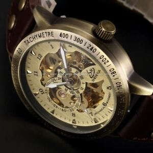 Montre-Squelette-Mecanique-Automatique-Bronze-Retro-Homme-Bracelet-Cuir