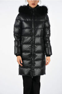 Details about DUVETICA women Jackets Nylon Down Jacket with Eco Fur Black