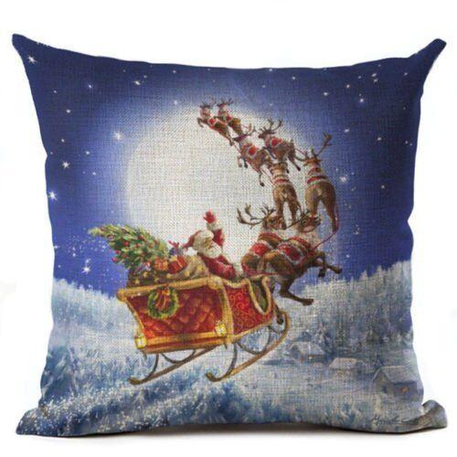 Merry Christmas Series Cushion Cover Santa Claus Pattern Throw Pillow Case Sofa