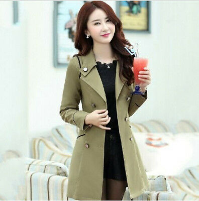 2015 Spring Womens Lapel VTG Double-Breasted Slim Long Jacket Coat Trench Parka