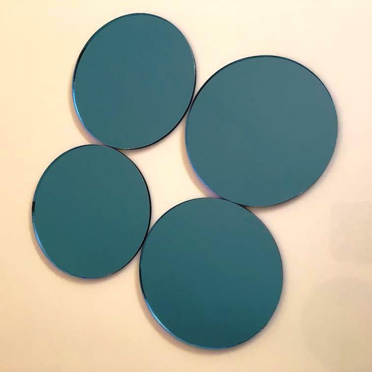 Blau verspiegelt Acryl Kreis Basteln Mosaik   Wandfliesen Größen 1cm-20cm