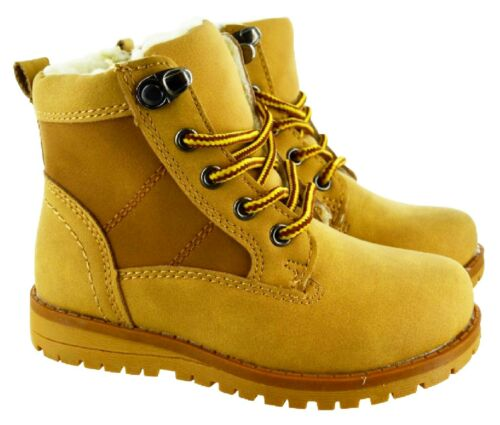 KIDS BOYS GIRLS CHILDRENS INFANTS ZIP UP FUR LINED WARM ANKLE HIKING BOOTS SIZE