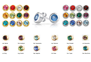 Image Is Loading Surgical Stainless Steel Birthstone Ear Piercing Stud Earrings