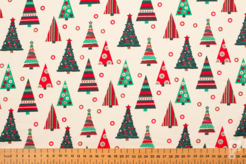 XMAS WIDTH 135 CM TREE DECORATIONS PRINTED COTTON FABRIC CHRISTMAS