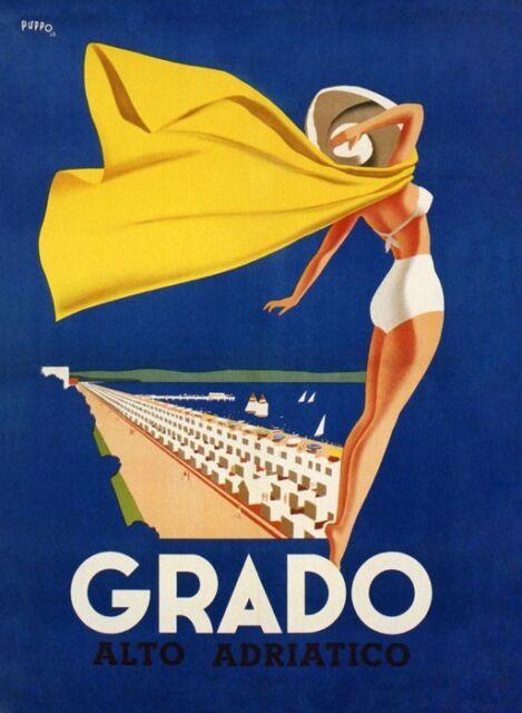 GRADO Lady Beach Sea Ocean Italy Italia Tourism Vintage Poster Repro FREE S/H