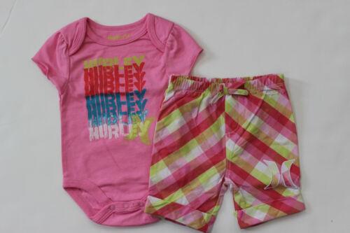 Hurley 3 6 9 M Bodysuit Tee Plaid Shorts Girl/'s 2 Pc NWT Shirt Top S//S