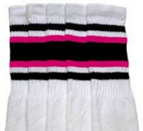 "30"" OVER THE KNEE WHITE tube socks with BLACK//HOT PINK stripes style 4 30-15"