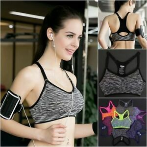 Women Fitness Yoga Sports Bra Stretch Workout Tank Top Seamless Racerback Padded