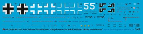 Peddinghaus  1//48 0850 Me 262 A-1a JV 44 Eduard Schallmoser