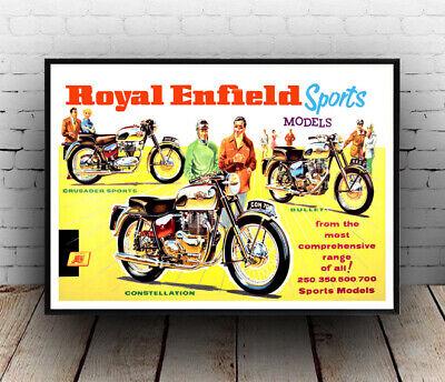 Royal Enfield Wall art. Vintage Magazine advertising poster