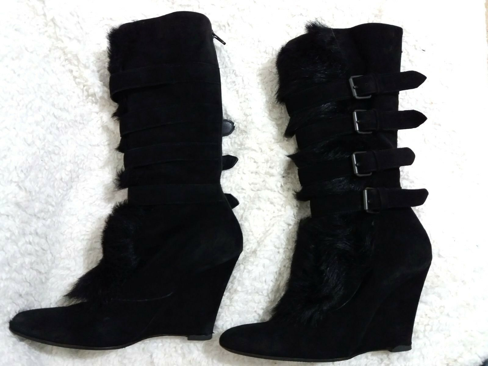 HELMUT LANG Women Women Women Boots Black Suede & Real Fur Wedge Mid Calf EU 39.5 US 9 UK 7 be444f