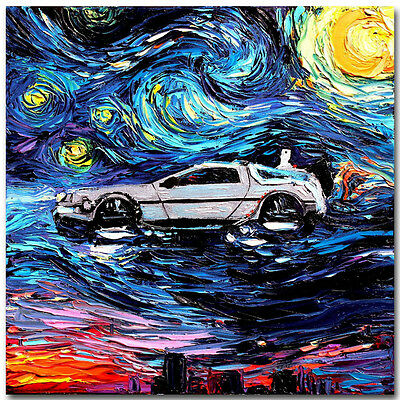 Back to the Future Classic Movie Silk Poster Print 12x12 24x24 inch Starry Night