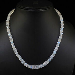 Natural-Rainbow-Moonstone-Necklace-Top-Quality-Facetted-Beads-925-Silver-Clasp