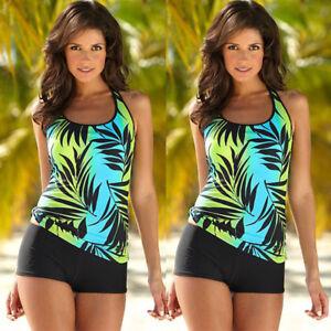 4e27f8a5362b2 Womens Tankini Sets Boy Shorts Ladies Swimwear Plus Size Two Piece ...