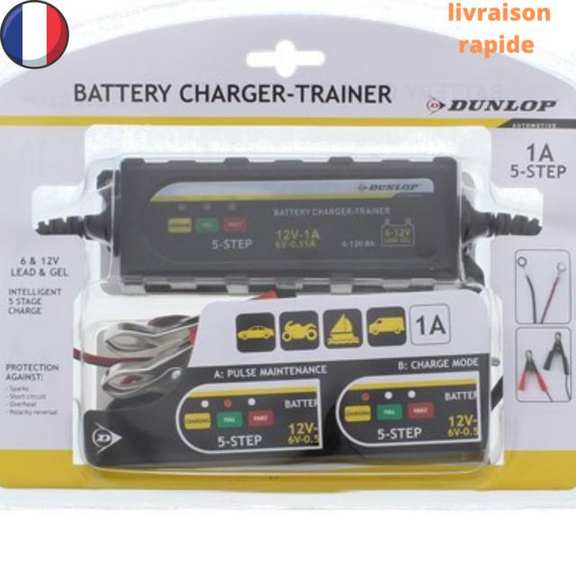 Chargeur batterie Voiture  AUTO/MOTO DUNLOP  6 et 12 VOLTS maintien charge