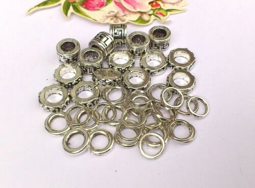 35 x Chunky Aztec Rondelle /& Alloy Ring  Spacers 8-10mm Large Hole