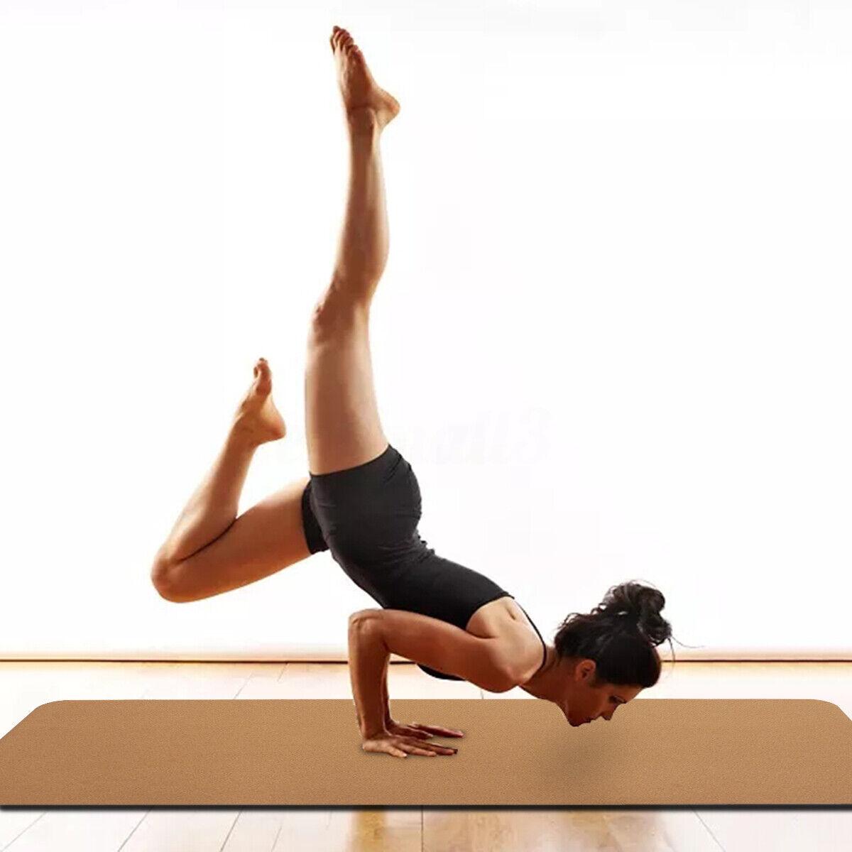 Natural 3-8MM Cork TPE Yoga Mat Non Slip Black Pad Pilates Gym Fitness