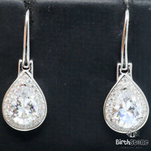 Pear-Lab-Diamond-Dangle-Earrings-Women-Anniversary-Jewelry-925-Sterling-Silver