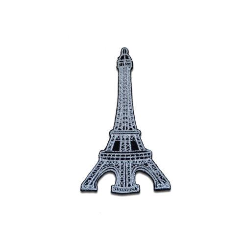 6,2 x 8,9 cm Aufnäher // Bügelbild silber Eiffelturm Paris France