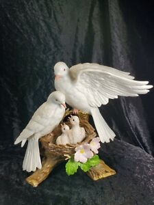Homco-Classic-Porcelain-Nature-039-s-Promise-Nesting-Birds-w-Babies-Figurine-MINT