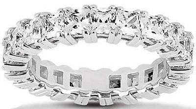 3.74 carat PRINCESS Cut DIAMOND Wedding Band ETERNITY Ring F color VS clarity
