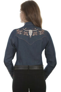 Scully-Women-039-s-Denim-Embroidered-Longhorn-Snap-Up-Western-Shirt-PL-872-SALE