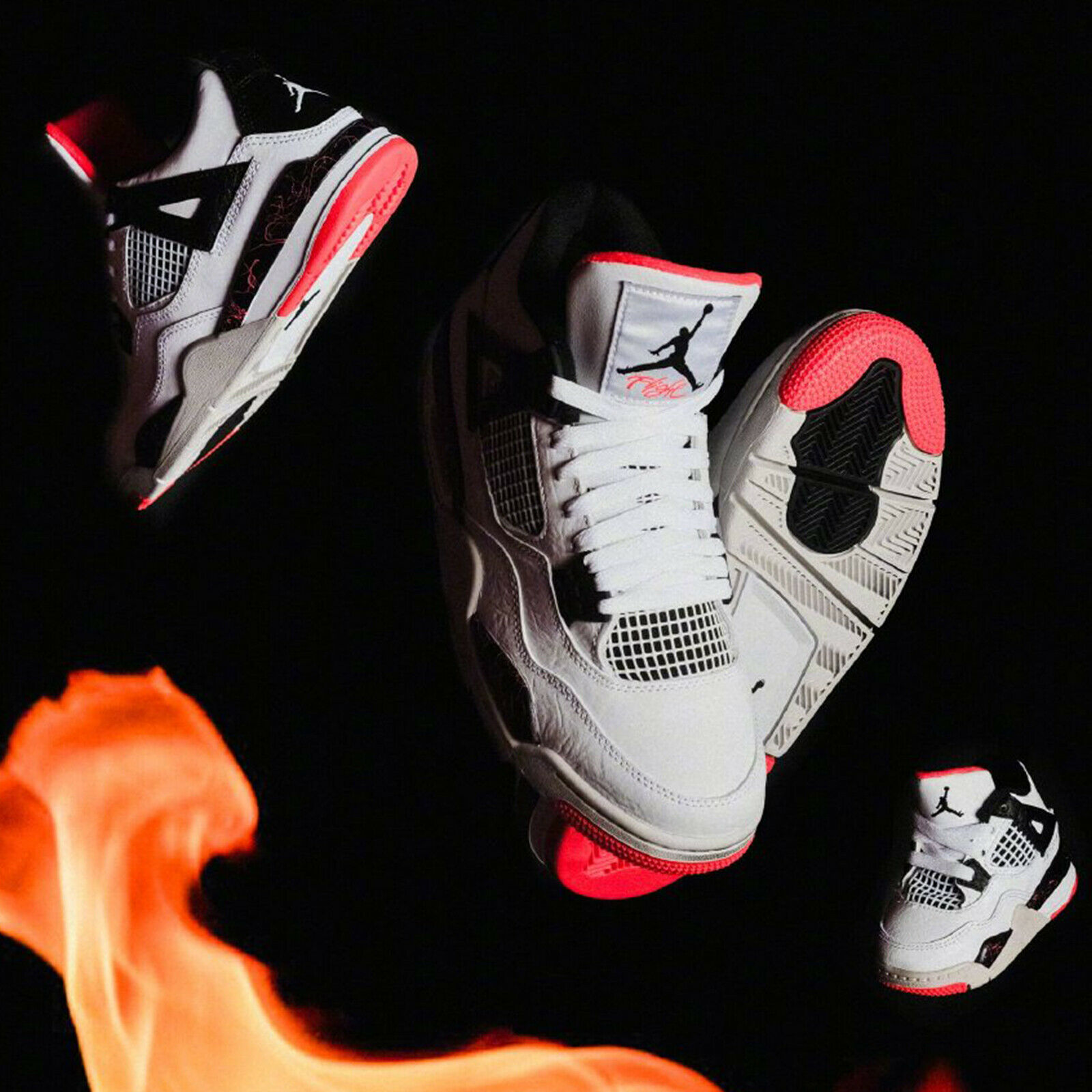 Nike Air Jordan 4 Retro Bright Crimson Pale Citron Hot Lava Men Women Kid Pick 1