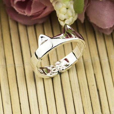 Cute Unisex Girl Boy Silver Cat Open Smooth Adjustable Ring NF