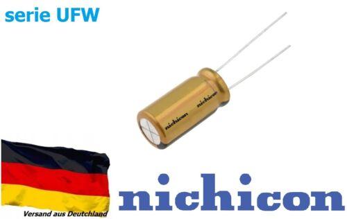5 Stück Elko Kondensator radial Nichicon 4,7uF 50V Ø5x11 85C serie UFW audio