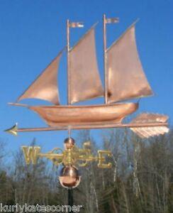 "Antiques Frugal Copper "" Schooner "" Weathervane Made In Usa #403s Weathervanes & Lightning Rods"