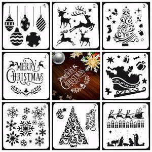 8pcs Noël Layering Pochoirs gaufrage Modèle Peinture scrapbooking décoration