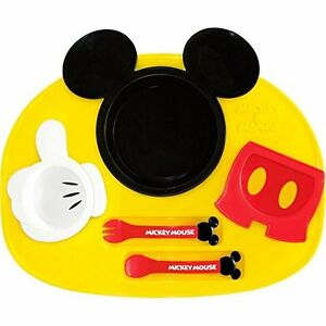 Can Be Repeatedly Remolded. Hard-Working Nishiki Kasei Lovely Mickey Baby's Feeding Plates Set Unisex Japan New
