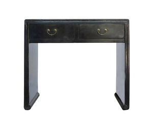 Image Is Loading Chinese Oriental Black Lacquer Two Drawers Side Table