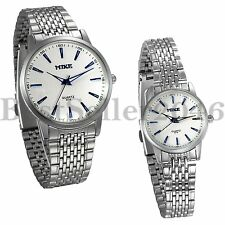 His and Hers Couple Watches Fashion Men Women Stainless Steel Quartz Wrist Watch