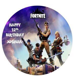 Image is loading FORTNITE-CAKE-TOPPER-BIRTHDAY-CAKE-EDIBLE-ROUND-PRINTED- b9e50b4c62f0