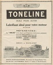 Y9168 Lubrificante TONELINE - Illustrazione auto - Pubblicità d'epoca - 1927 Ad