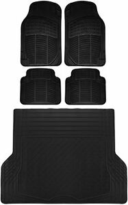 5pc All Weather Heavy Duty Rubber Universal Floor Mat Black 2 Row & Trunk Liner