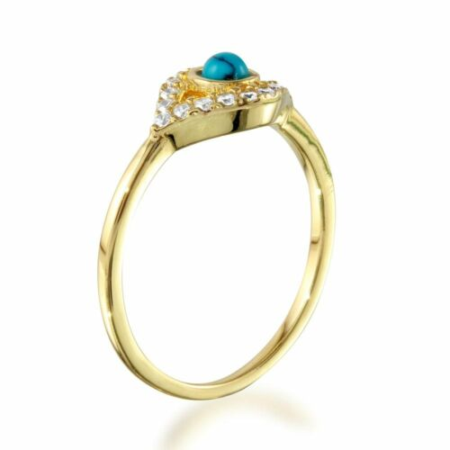 EVIL EYE RING W// ACCENTS  //SZ 5-9// 14K YELLOW GOLD OVER 925 STERLING SILVER