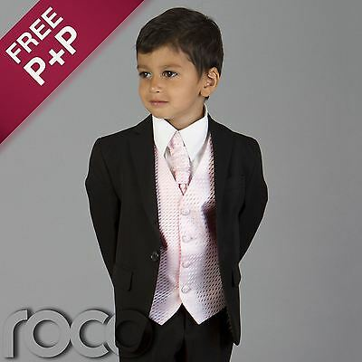 BOYS KIDS CHILDRENS BLACK PINK WEDDING PAGEBOY PROM CRAVAT SUIT AGE 6M - 15YRS