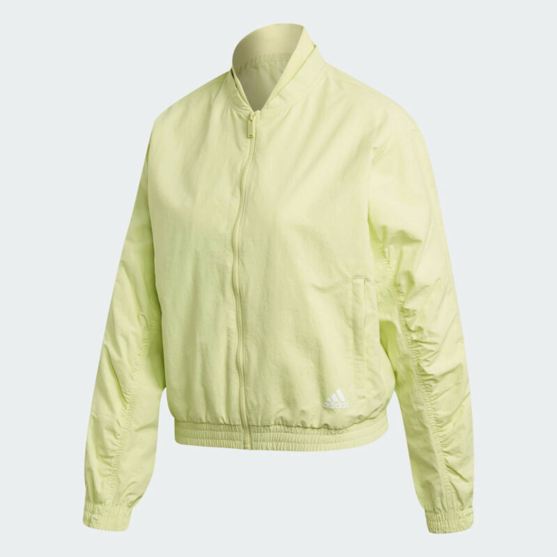 New Women's Adidas Woven Full Zip Jacket Size L Yellow Tint Msrp $80