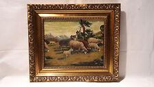 Ölgemälde Schafe Öl auf Leinwand Signiert Wandelt ca. um 1900
