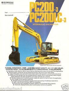 Details about Equipment Brochure - Komatsu - PC200-3 LC-3 - Hydraulic  Excavator c1986 (E2104)