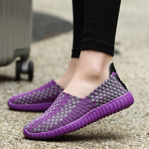 Womens-Slip-on-Walking-Shoes-Woven-Elastic-Flat-Lightweight-Fashion-Sneakers-US